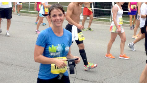 Stacey Elders of St. Charles participated in the Chicago half-marathon for the first time Sunday. In the process, she raised $6,000 for the Huntley-based organization Cancer Kiss My Cooley, which raises community awareness for pediatric brain tumors.